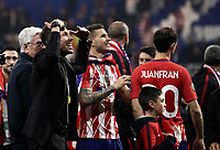 Club Atletico de Madrid's coach Diego Simeone greets fans at the end of the UEFA Europa League final football match between Olympique de Marseille and Club Atletico de Madrid at the Groupama Stadium in Decines-Charpieu, near Lyon, France, May 16, 2018. Club Atletico de Madrid won 3-0.<br /> UPDATE IMAGES PRESS/Isabella Bonotto