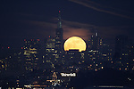 The planting or milk moon rose over San Francisco skyline shortly after sunset seen from Fort Baker in Sausalito. Just before midnight on 5/23 the full moon moved in front of the star Antares and blocks it from view.
