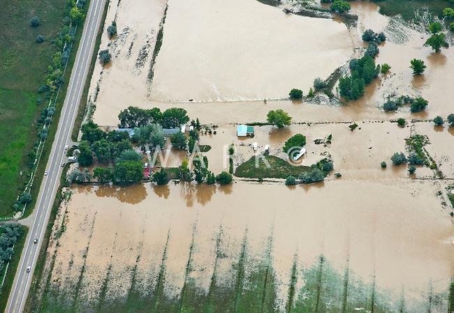 Flooding along Boulder Creek, Boulder, Colorado.