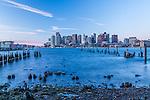 A winter sunrise over Boston Harbor, Boston, Massachusetts, USA