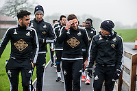 Thursday  21 January 2016<br /> Pictured: (L-R ) Neil Taylor, Angel Rangel and Jefferson Montero of Swansea<br /> Re: Swansea City Training Session at the Fairwood training ground