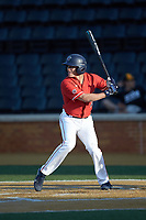 Jonathan Embry (11) of the Liberty Flames at bat against the Wake Forest Demon Deacons at David F. Couch Ballpark on April 25, 2018 in  Winston-Salem, North Carolina.  The Demon Deacons defeated the Flames 8-7.  (Brian Westerholt/Four Seam Images)