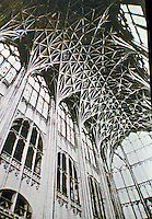 Historical image of the vaulted ceiling in Choir of Gloucester Cathedral. Gloucester England. Gothic style