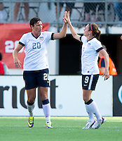 Abby Wambach, Heather O'Reilly.  The USWNT defeated Brazil, 4-1, at an international friendly at the Florida Citrus Bowl in Orlando, FL.