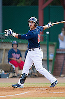 Oswaldo Arcia #24 of the Elizabethton Twins at bat against the Kingsport Mets at Joe O'Brien Field August 14, 2010, in Elizabethton, Tennessee.  Photo by Brian Westerholt / Four Seam Images