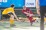 Mannheim, Germany, October 25: During the 1. Bundesliga men fieldhockey match between Mannheimer HC (red) and Harvestehuder THC (yellow) on October 25, 2020 at Am Neckarkanal in Mannheim, Germany. Final score 6-4 (HT 2-3). (Copyright Dirk Markgraf / www.265-images.com) *** Tim Seagon #17 of Mannheimer HC