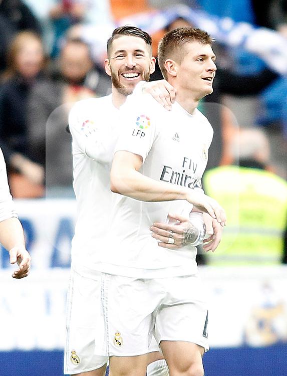Real Madrid's Sergio Ramos (l) and Toni Kroos celebrate goal during La Liga match. February 13,2016. (ALTERPHOTOS/Acero)
