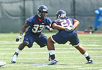 Virginia linebacker Perry Jones(33) and Virginia wide receiver Dominique Wallace during open spring practice for the Virginia Cavaliers football team August 7, 2009 at the University of Virginia in Charlottesville, VA. Photo/Andrew Shurtleff