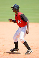 Brandon Short #13 of the Kannapolis Intimidators takes his lead off of first base at Fieldcrest Cannon Stadium June 2, 2009 in Kannapolis, North Carolina. (Photo by Brian Westerholt / Four Seam Images)