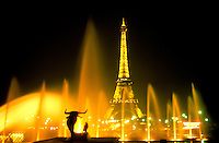 Fountain at the world famous Eiffel Tower Paris France.