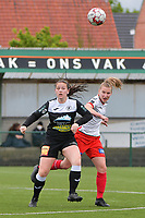 Valentine Hannecart 8) of Eendrcht Aalst and Laura Vervacke (20) of Zulte Waregem  pictured during a female soccer game between SV Zulte - Waregem and Eendracht Aalst on the 9 th matchday in play off 2 of the 2020 - 2021 season of Belgian Scooore Womens Super League , saturday 22 nd of May 2021  in Zulte , Belgium . PHOTO SPORTPIX.BE   SPP   DIRK VUYLSTEKE
