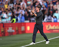 11th September 2021; Brentford Community Stadium, London, England;  Premier League football, Brentford versus Brighton Athletic; Thomas Frank Manager of Brentford applauds the Brentford fans after the match