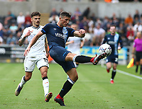 25th September 2021; Swansea.com Stadium, Swansea, Wales; EFL Championship football, Swansea versus Huddersfield; Matty Pearson of Huddersfield Town clears the ball