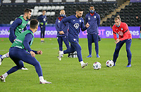 SWANSEA, WALES - NOVEMBER 12: Sebastian Lletget #17 of the United States national team warming up before a game between Wales and USMNT at Liberty Stadium on November 12, 2020 in Swansea, Wales.