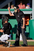 Umpire Mitch Trzeciak calls a strike during a NY-Penn League game between the West Virginia Black Bears and Batavia Muckdogs on June 27, 2019 at Dwyer Stadium in Batavia, New York.  West Virginia defeated Batavia 6-5 in ten innings.  (Mike Janes/Four Seam Images)