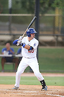 Ryan Scott #40 of the AZL Dodgers bats against the AZL Athletics at Camelback Ranch on July 12, 2014 in Glendale, Arizona. AZL Athletics defeated the AZL Dodgers, 3-2. (Larry Goren/Four Seam Images)