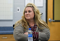 Kim Crawford, kindergarten teacher, looks on,Monday, October 5, 2020 at the Clinton Schools Administration Building in Clinton. Check out nwaonline.com/2010010Daily/ for today's photo gallery. <br /> (NWA Democrat-Gazette/Charlie Kaijo)