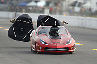 Oct 2, 2020; Madison, Illinois, USA; NHRA pro mod driver Jeff Jones during qualifying for the Midwest Nationals at World Wide Technology Raceway. Mandatory Credit: Mark J. Rebilas-USA TODAY Sports