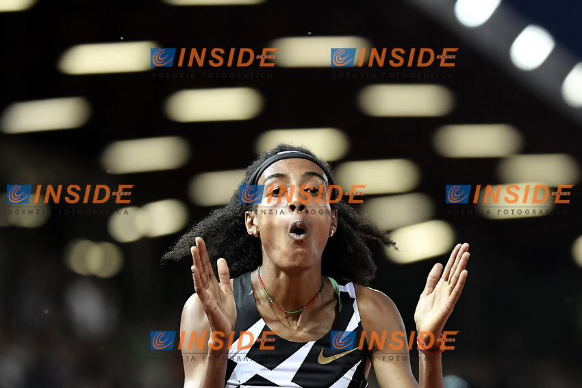 Sifan Hassan of The Netherlands reacts after winning the 1500m Women during the Wanda  Diamond League Golden Gala meeting at the Luigi Ridolfi stadium in Florence, Italy, June 10th, 2021. Photo Andrea Staccioli / Insidefoto
