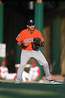 Aberdeen IronBirds first baseman Cory Segui (24) waits for a throw during a game against the Williamsport Crosscutters on August 4, 2014 at Bowman Field in Williamsport, Pennsylvania.  Aberdeen defeated Williamsport 6-3.  (Mike Janes/Four Seam Images)