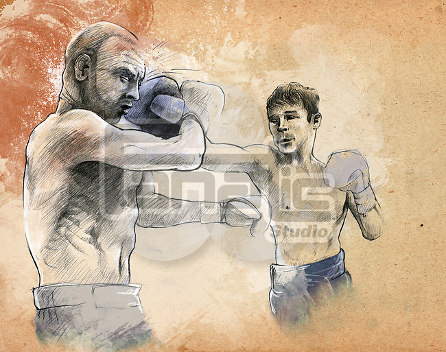 Illustrative image of two boxers fighting