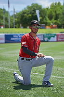Javy Guerra (5) of the El Paso Chihuahuas before the game against the Salt Lake Bees at Smith's Ballpark on July 8, 2018 in Salt Lake City, Utah. El Paso defeated Salt Lake 15-6. (Stephen Smith/Four Seam Images)