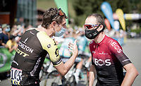 Chris Froome (GBR/Ineos) chatting with his african buddy Daryl Impey (ZAF/Mitchelton-Scott) at the race start in Megève<br /> <br /> Stage 5: Megève to Megève (154km)<br /> 72st Critérium du Dauphiné 2020 (2.UWT)<br /> <br /> ©kramon