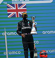 11th October 2020, Nuerburgring, Nuerburg, Germany; FIA Formula 1 Eifel Grand Prix, Race Day;  44 Lewis Hamilton GBR, Mercedes-AMG Petronas Formula One Team celebrates his race win and equaling Michael Schumachers win record
