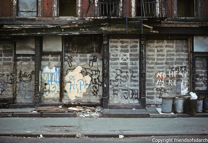 New York City: Lower East side street scene, 7th St., between Aves. C & D. Photo '78.