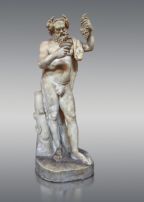 1st century AD Roman statue of Silenus pouring wine from a jug. The head is from the Flavian period and the body 1st century. A copy of an earlier Hwellenistic sculpture by the school of Lysippus, inv 323, Vatican Museum Rome, Italy,  grey background