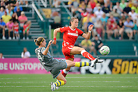 Brittany Bock (21) of the Western New York Flash and Jen Buczkowski (4) of the Philadelphia Independence during the Women's Professional Soccer (WPS) Championship presented by Citi at Sahlen's Stadium in Rochester NY, on August 27, 2011.