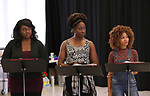 "Amma Osei, Amber Iman and Allison Semmes In Rehearsal with the Kennedy Center production of ""Little Shop of Horrors"" on October 11 2018 at Ballet Hispanica in New York City."