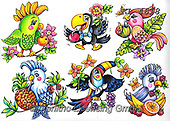 Interlitho-Theresa, CUTE ANIMALS, LUSTIGE TIERE, ANIMALITOS DIVERTIDOS, paintings+++++,6 birds tropic,KL4618,#ac#, EVERYDAY ,sticker,stickers