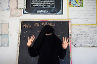 Huda Ahmed Ghaleb is the chairwoman of the Yemen Women's Union in Hodeidah and gives classes to women on human rights.