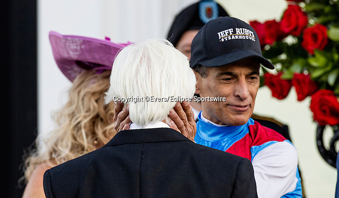 MAY 01, 2021:  John Velazquez hugs Bob Baffert as they celebrate after wining the Kentucky Derby at Churchill Downs in Louisville, Kentucky on May 1, 2021. EversEclipse Sportswire/CSM