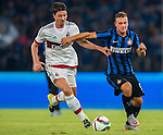Ricardo Monteolivo of AC Milan (L) competes for the ball with Federico Dimarco of FC Internazionale Milano (R) during the AC Milan vs FC Internacionale as part of the International Champions Cup 2015 at the looks onnggang Stadium on July 25, 2015 in Shenzhen, China.  Photo by Aitor Alcalde / Power Sport Images