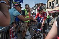 Jens Keukeleire (BEL/Lotto Soudal) congratulated for becoming the new GC leader after finishing stage 4. <br /> <br /> <br /> Baloise Belgium Tour 2018<br /> Stage 4:  Wanze - Wanze 147.3km