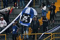 BOGOTÁ-COLOMBIA, 17–08-2019: Hinchas de Millonarios durante partido entre Millonarios y La Equidad de la fecha 6 por la Liga Águila II 2019  jugado en el estadio Nemesio Camacho El Campín de la ciudad de Bogotá. / Fans of Millonarios during a match between Millonarios and La Equidad of the 6th date for the Aguila Leguaje II 2019 played at the Nemesio Camacho El Campin Stadium in Bogota city, Photo: VizzorImage / Luis Ramírez / Staff.