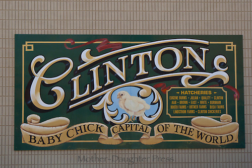 """""""Baby Chick capital of the world"""": Sign painted on downtown wall, Clinton Missouri USA"""