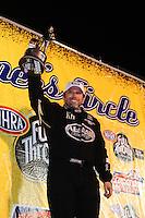 Nov. 13, 2011; Pomona, CA, USA; NHRA top fuel dragster driver Del Worsham celebrates after winning the Auto Club Finals the Auto Club Raceway at Pomona. Mandatory Credit: Mark J. Rebilas-.