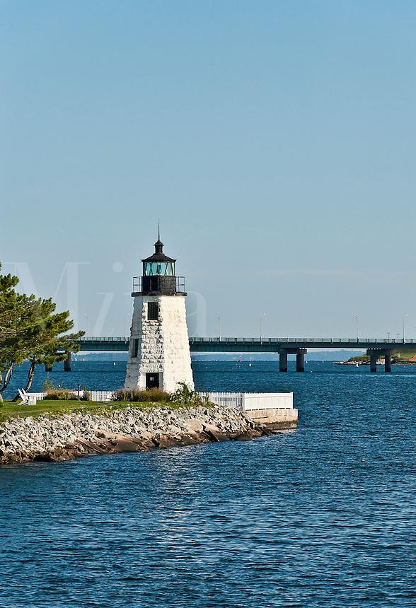 Goat Island lighthouse, Newport, RI, Rhode Island, USA