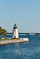 Goat Island lighthouse, Newport, RI, Rhode Island, USA