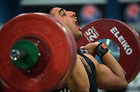 23 FEB 2014 - SMETHWICK, GBR - Sebastian Pardo attempts to complete a lift during the men's 85kg category round at the 2014 English Weightlifting Championships  at the Harry Mitchell Leisure Centre in Smethwick, Great Britain (PHOTO COPYRIGHT © 2014 NIGEL FARROW, ALL RIGHTS RESERVED)