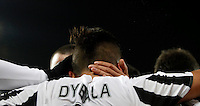 Calcio, Serie A: Juventus vs Sassuolo. Torino, Juventus Stadium, 11 marzo 2016. <br /> Juventus' Paulo Dybala celebrates with teammates after scoring the winning goal during the Italian Serie A football match between Juventus vs Sassuolo, at Turin's Juventus Stadium, 11 March 2016. Juventus won 1-0.<br /> UPDATE IMAGES PRESS/Isabella Bonotto