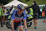 French Champion Warren Barguil (FRA) Team Arkea-Samsic crosses the finish line in 6th place at the end of Stage 3 of the Route d'Occitanie 2020, running 163.5km from Saint-Gaudens to Col de Beyrède, France. 3rd August 2020. <br /> Picture: Colin Flockton | Cyclefile<br /> <br /> All photos usage must carry mandatory copyright credit (© Cyclefile | Colin Flockton)