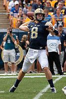 Pitt quarterback Kenny Pickett. The Pitt Panthers football team defeated the Georgia Tech Yellow Jackets 24-19 on September 15, 2018 at Heinz Field in Pittsburgh, Pennsylvania.