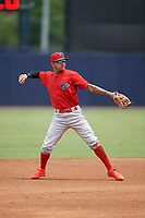 Clearwater Threshers shortstop Arquimedes Gamboa (7) throws to first base during a game against the Tampa Tarpons on April 22, 2018 at George M. Steinbrenner Field in Tampa, Florida.  Clearwater defeated Tampa 2-1 (Mike Janes/Four Seam Images)