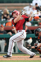 Paul Goldschmidt #63 of the Arizona Diamondbacks bats against the San Francisco Giants in the first spring training game of the season at Scottsdale Stadium on February 25, 2011  in Scottsdale, Arizona. .Photo by:  Bill Mitchell/Four Seam Images.