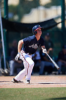 Atlanta Braves Drew Waters (13) at bat during an Instructional League game against the Detroit Tigers on October 10, 2017 at the ESPN Wide World of Sports Complex in Orlando, Florida.  (Mike Janes/Four Seam Images)
