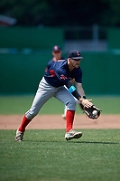 Lowell Spinners third baseman Korby Batesole (12) fields a ground ball during a game against the Batavia Muckdogs on July 15, 2018 at Dwyer Stadium in Batavia, New York.  Lowell defeated Batavia 6-2.  (Mike Janes/Four Seam Images)